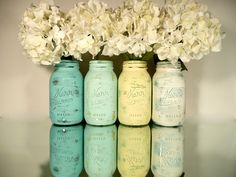 LOVE!!!  Beach Home Decor - Painted and Distressed Shabby Chic Mason Jars - Seaside Inside and Outside. $28.00, via Etsy.