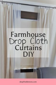 Farmhouse Drop Cloth Curtains DIY for Double or single curtain rods... pretty sweet.  drop cloth, drop cloth curtains, farmhouse, farmhouse style, DIY, Curtain DIY, drop cloth curtain DIY, double rod curtains, double curtain rod DIY #DIY #farmhouse