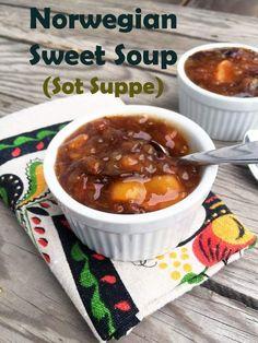 Norwegian Sweet Soup (Sot Suppe) - My WordPress Website Norwegian Cuisine, Norwegian Food, Swedish Cuisine, Supper Recipes, Soup Recipes, Cooking Recipes, Chard Recipes, Fruit Recipes, Cooking Tips