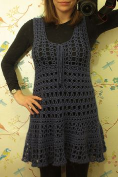 Long crochet overshirt! tunic - free pattern...The pattern is for a beach cover-up, but using a different color yarn and wearing it over leggings and a long sleeved tee, changes the cover-up into a tunic...great thinking outside the box!