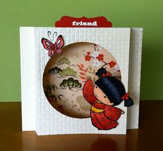 handmade card ... special diarama fold ...  Sister Stamps image ... sweet little girl in kimono chasing a butterfly ... by  Kiyomi