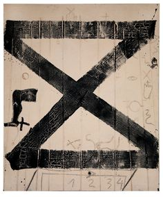 "Tàpies ""Jeroglífics"" at the MNAC Museum. Abstract Expressionism, Abstract Art, Modern Art, Contemporary Art, Black And White Abstract, Graphic Design Inspiration, Installation Art, Cool Artwork, Mixed Media Art"