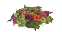 Preorder for April | Rose, Hydrangea, Vine (OF347): Preorder for April | Rose, Orange Fuchsia, Glass Low Bowl, 23wx23dx13h