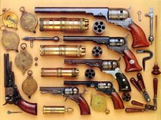 Various Colt Paterson revolvers & accoutrements. Colt Revolver - Patented Adopted the Texas Rangers found that the Paterson shifted the balance of power against their Comanche foes. Weapons Guns, Airsoft Guns, Revolver Pistol, Revolvers, Western Holsters, Ruger Lc9, Black Powder Guns, Charro, Gun Holster