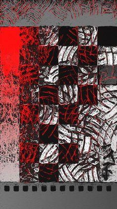 Checkered Scroll (red) 2014 iPad Art by Judee Hollander
