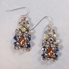 Pompadour Earring Kit Silver Blush Pink Lt Sapphire &