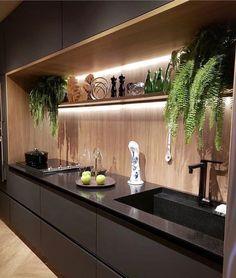 20 elegant and luxury kitchen design ideas 14 Industrial Kitchen Design, Kitchen Room Design, Modern Kitchen Design, Home Decor Kitchen, Interior Design Kitchen, Kitchen Walls, Decorating Kitchen, Kitchen Designs, Kitchen Cabinets
