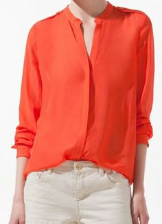 Orange V-neck Placket Long Sleeve Studded Blouse