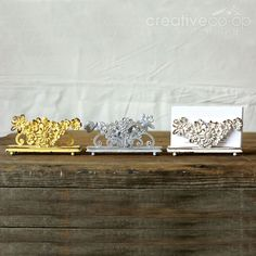 Cottage Chic Pewter Flower Business Card Holder ★ Creative Co-Op Home