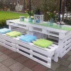 White pallet patio set. I love the white with the soft pink flowers and lantern. So pretty!