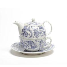 Blue/Lavender Floral Tea for One Set