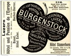 Original-Werbung/ Anzeige 1898 - HOTELS IN BÜRGENSTOCK / LUZERN - ca. 90 x 75 mm