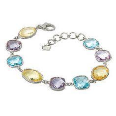 Silver Bracelet with Amethyst, Blue Topaz & Citrine