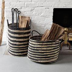 Ikat Baskets. LOVE this for holding wood, something stylish yet useful.