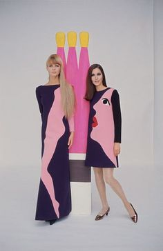 Yves Saint Laurent's tribute to Tom Wesselmann. Photographed for LIFE magazine by Jean-Claude Sauer, 1966 vintage fashion couture iconic novelty print face body leg dress gown blue pink models 1960s Fashion, Moda Fashion, Fashion Art, High Fashion, Vintage Fashion, Fashion Design, Fashion Trends, Fashion Clothes, Fashion Ideas