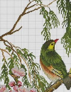 (1) Gallery.ru / Фото #49 - Зо Cross Stitch Bird, Cross Stitch Animals, Cross Stitch Flowers, Beaded Embroidery, Cross Stitch Embroidery, Hand Embroidery, Cross Stitch Patterns, Beading Patterns Free, Hama Beads Patterns