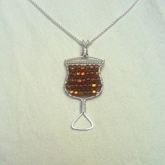 Handmade Sterling Silver Chalice Necklace Topaz Glass Beads
