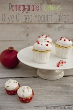 Pomegranate and Lime Olive Oil Yogurt Cupcakes via FoodforMyFamily.com #recipe
