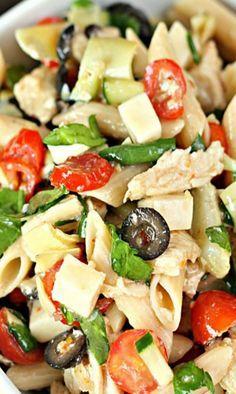 Italian Chicken Pasta Salad Italian Pasta salad with chicken,vegetables and olives Chicken Pasta Salad Recipes, Italian Chicken Pasta, Pasta Salad Italian, Salad Chicken, Penne Pasta Salads, Recipe Pasta, Recipe Recipe, Olive Recipes, Italian Recipes