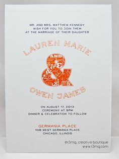 Modern Wedding Invitation Set with Decorative Type  Vows by r3mg, $300.00