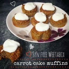 Slimming world, Syn free carrot cake muffins, would need to substitute weetabix for something gluten free Slimming World Deserts, Slimming World Puddings, Slimming World Recipes Syn Free, Slimming World Diet, Slimming Eats, Slimming World Carrot Cake, Slimming World Muffins, Weetabix Cake Slimming World, Slimming World Biscuits