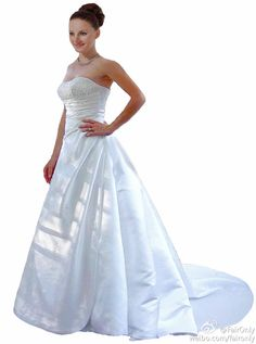 FairOnly Stock Crystal Strapless Wedding Dress Bridal Gown Size 6 8 10 12 14 16