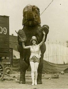 Elephant & trainer 1920's