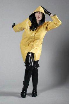 Raincoat and black hip waders Vinyl Raincoat, Pvc Raincoat, Yellow Raincoat, Hooded Raincoat, Yellow Rain Jacket, Rain Fashion, Women's Fashion, Wellies Rain Boots, Rubber Raincoats