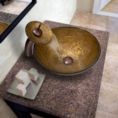 Vigo Textured Copper Vessel Sink and Waterfall Faucet | Overstock.com Shopping - The Best Deals on Sink & Faucet Sets