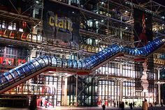 Richard Rogers and Renzo Piano, Centre Pompidou, Paris, France Renzo Piano, Centre Pompidou Paris, Summer Meal Planning, Photos Voyages, City Limits, France Travel, Night Life, Travel Inspiration, Places To Visit
