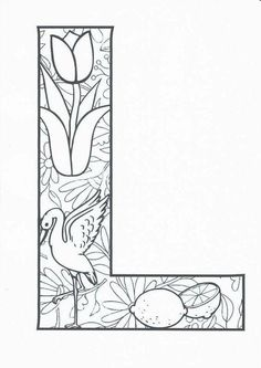 Coloring Letters, Abc Coloring Pages, Valentine Coloring Pages, Mandala Coloring Pages, Coloring Books, Printable Alphabet Letters, Alphabet Blocks, Zentangle Patterns, Colorful Pictures