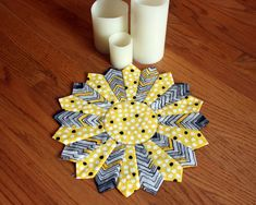 Quilted Dresden Plate Gray and Yellow Table Topper, 12 inch Modern Candle Mat, Handmade Pieced Mini Quilt, Runner, mug rug