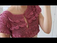 Crochet Top Outfit, Crochet Doll Dress, Crochet Skirts, Crochet Tunic, Filet Crochet, Crochet Clothes, Crochet Bag Tutorials, Crochet Flower Tutorial, Crochet Videos