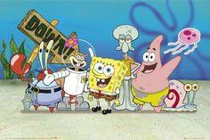 Plankton, Mr. Crab, Sandy, Spongebob, Squidward, Patrick, Jellyfish, and Gary