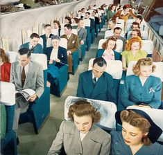 Passengers aboard a Boeing Stratocruiser, 1950.  When people dressed up to be in public