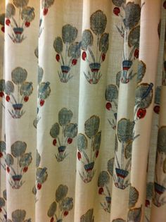 The shower curtain made in Katie Leede's fabric Thebes made  by the Jonas…