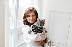 Cats in Weddings, How Adorable is this Bride Holding her Cat? Field Wedding, Cat Wedding, Wedding Couples, Outdoor Wedding Photography, Wedding Photography Inspiration, Photography Ideas, Cute Wedding Ideas, Wedding Styles, Cherry Blossom Wedding