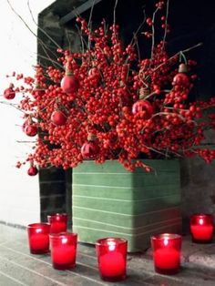 Winterberry Branches & Red Ornaments Make 4 A Stunning Container. Click 2 See More Ideas 4 Natural Holiday Decor Winter Christmas, Winter Holidays, All Things Christmas, Christmas Holidays, Christmas Crafts, Christmas Decorations, Christmas Ideas, Fireplace Decorations, Christmas Arrangements
