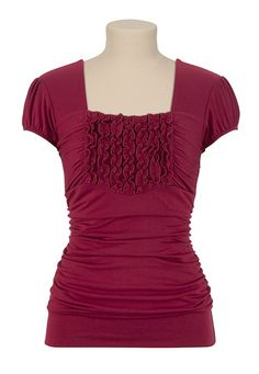 Ruffle Front Cap Sleeve Square Neck Top available at #Maurices