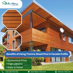 Use Au-Mex thermal wooden pine cladding (Thermo pine cladding) for ecological thermo wooden facade in custom dimensions for home energy saving and most comfortable. Wooden Cladding, Wooden Facade, Stables, Save Energy, Pine, Profile, Mansions, House Styles, Outdoor Decor