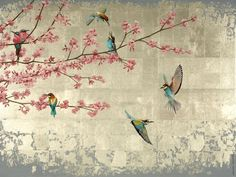 Items similar to Pink Blossom and Bee Eaters limited edition signed giclee print artwork, wall art, decor accessory, bird art on Etsy Traditional Japanese Art, Pink Blossom, Artwork Prints, Artwork Wall, Art Mural, Gold Art, Art Plastique, Botanical Prints, Chinoiserie