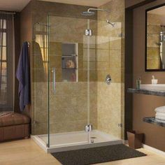 Quatra Lux 46-5/16 in. x 32-1/4 in. x 72 in. Frameless Corner Shower Enclosure in Chrome with handle