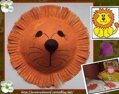 lion réalisé avec une assiette en carton, explications sur mon blog