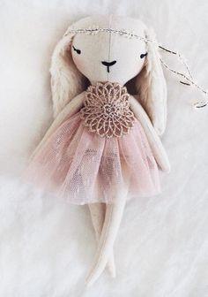 Handmade Linen Bunny Doll by lespetitesmainss on Etsy