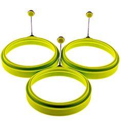 COJOY Anti-scald Silicone Egg Poacher Rings Pancake Maker Mold Round Nonstick Egg Rings Set of 3