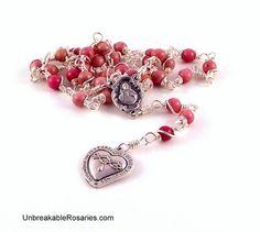 Most Precious Blood of Jesus Rosary Chaplet In Pink Rhodonite www.UnbreakableRosaries.com