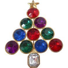 Christmas Tree Large Round Rhinestones Brooch Vintage