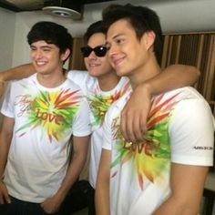 """Here are the three kings: James Reid, Daniel Padilla, and Enrique Gil smiling for the camera before the start of the recording of the 2015 ABS-CBN Christmas Station ID, """"Thank You for the Love! Inigo Pascual, Half Filipino, Daniel Johns, Enrique Gil, Star Magic, Liza Soberano, Daniel Padilla, John Ford, James Reid"""