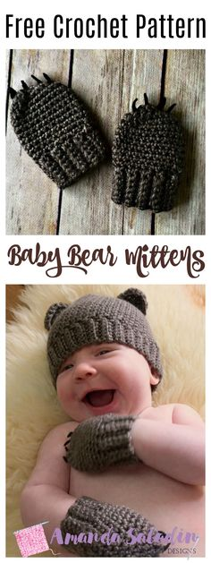 Created as part of a set, the Baby Bear Mittens are made for newborn to 6 months to keep a little one's hands toasty warm and to keep a small baby from scratching his or her face.