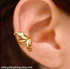 Royal Leaf ear cuff Gold earcuff clip earring by RingRingRing